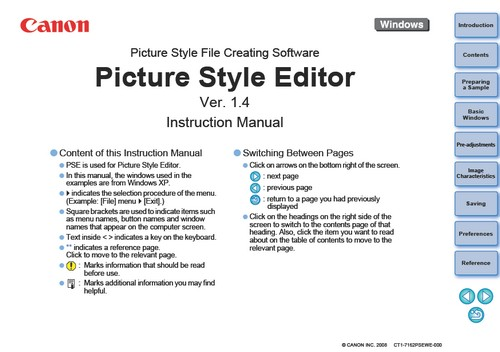 Download Instruction Manual for Canon Picture Style Editor V 1.4