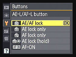 AE-L and AF-L Buttons Menu