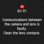 List of Error Message Canon EOS DSLR