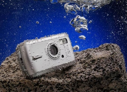 Camera Submerged in Water