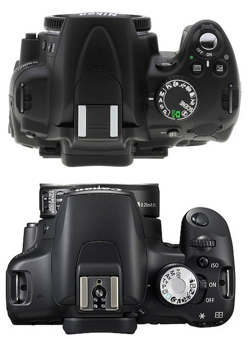Nikon D5000 vs EOS 500D - Top View