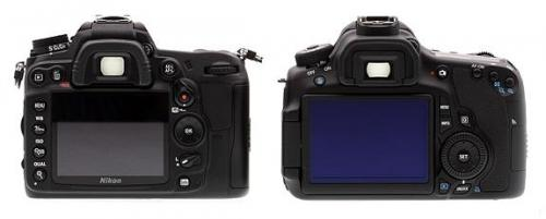 Nikon D7000 vs Canon 60D - Back View