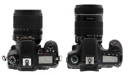 Nikon D7000 vs Canon 60D - Top View