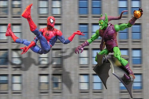 spidey vs goblin toy photography