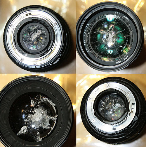 Nikon lenses smashed