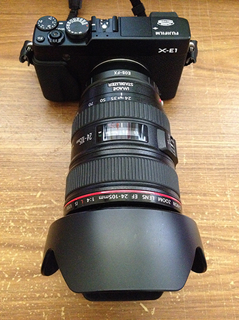 Fuji Xe-1 with Canon EF 24-105mm L