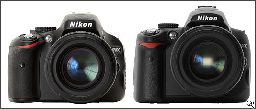 Nikon D5100 vs Nikon D5000 - Front View