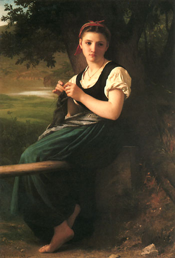 The Knitting Woman painting by William Adolphe Bouguereau
