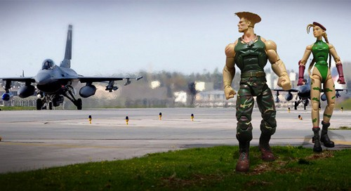 Cammy and Guile street fighter toy photography