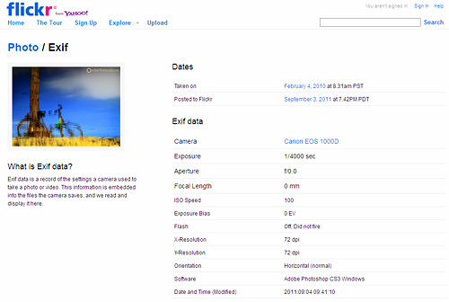 EXIF Data in Digital Photography (Flickr)