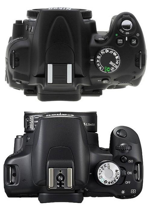 Nikon D5000 vs EOS 500D - Top View