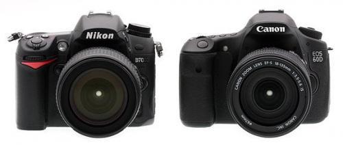Nikon D7000 vs Canon EOS 60D – Front View