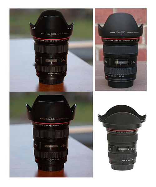 17-40mm L lens with different type of lens hoods