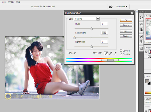 Selective color photography – Hue saturation